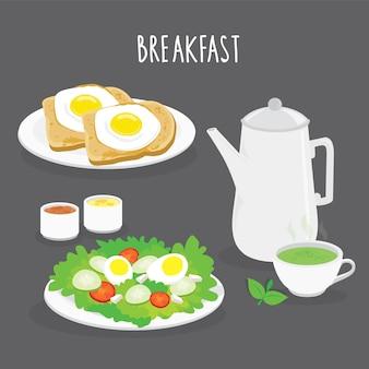 Conjunto de café da manhã, pão, ovo frito, salada e chá verde. ilustração em vetor dos desenhos animados
