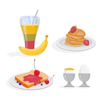 Conjunto de café da manhã. recolha de refeição saudável. ovo