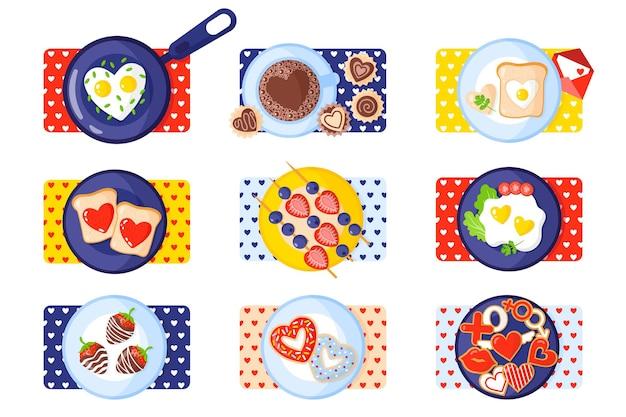 Conjunto de café da manhã: torradas, ovos mexidos, omelete, pão de gengibre, doces, café, donuts, morangos.