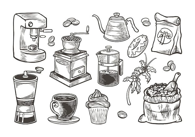 Conjunto de café desenhado à mão com estilo vintage de gravura