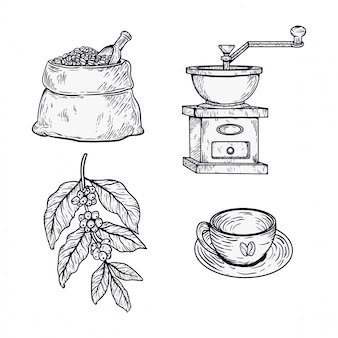 Conjunto de café desenhado à mão