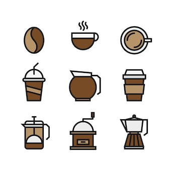 Conjunto de café e beber ícones de cores planas