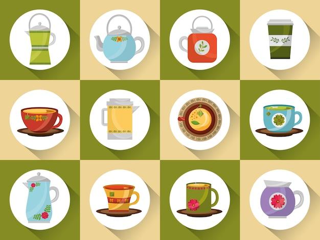 Conjunto de café e chá xícaras de café