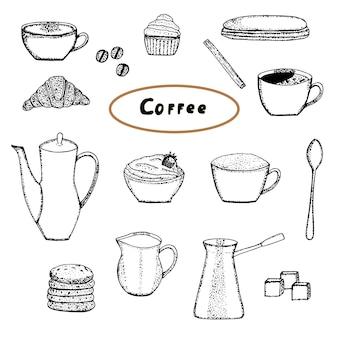 Conjunto de café e doces, esboço de desenho de mão de ilustração vetorial