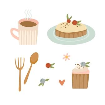 Conjunto de café e sobremesas