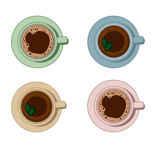 Conjunto de café e xícaras de chá bebidas.