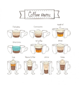 Conjunto de café infográfico. fundo branco. americano, irlandês, viena, raf, breve, glace, mead raf, cappuccino, branco liso, café com leite