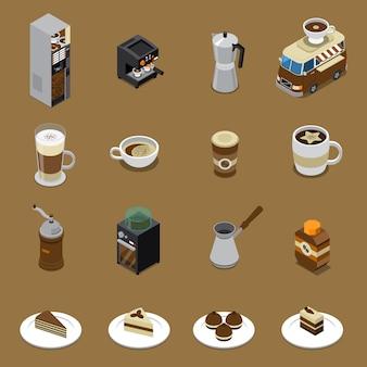 Conjunto de café isométrico
