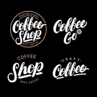 Conjunto de café mão escrita letras logotipos