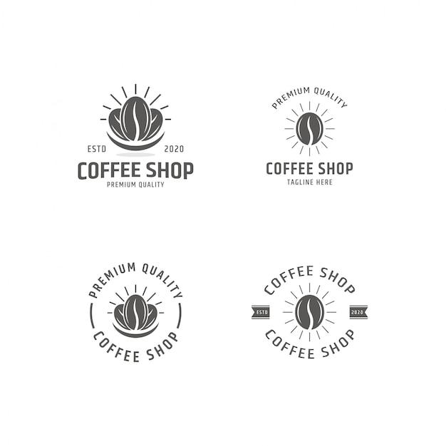 Conjunto de café, modelo de logotipo de loja de café