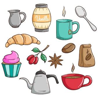 Conjunto de café no café da manhã ou almoço com estilo bonito doodle