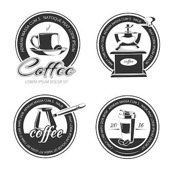 Conjunto de café vetor de emblemas