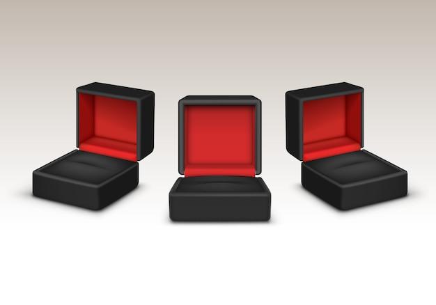 Conjunto de caixa aberta vermelha e preta vazia
