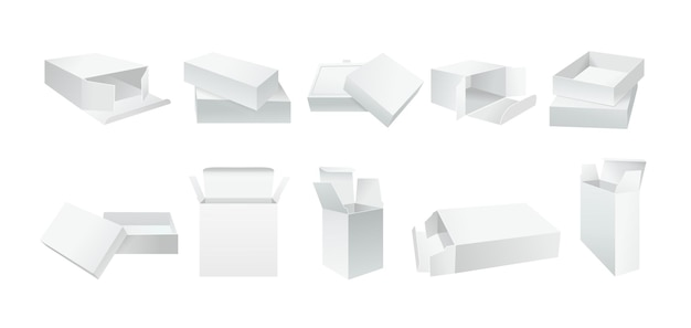 Conjunto de caixa branca de modelo. coleção de caixas de presente de embalagens de produto realista em branco. pacote de papel aberto e fechado. lado de ângulo de papelão branco realista.