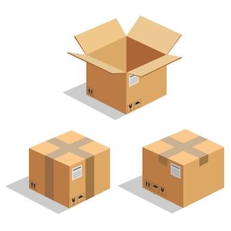 Conjunto de caixa de caixa de caixa de papelão