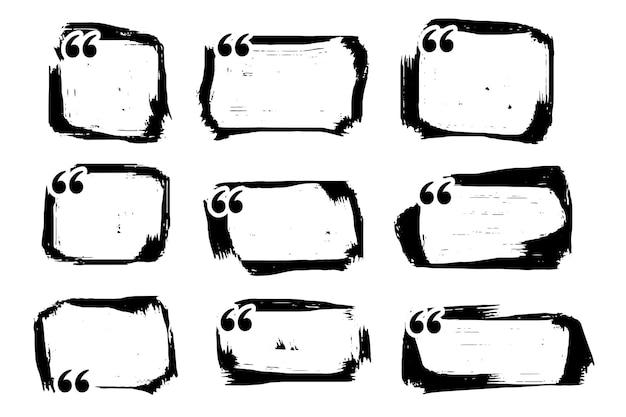 Conjunto de caixa de citação de grunge abstrato de nove