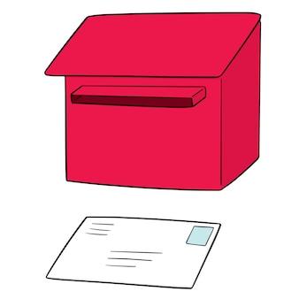 Conjunto de caixa de correio e envelope