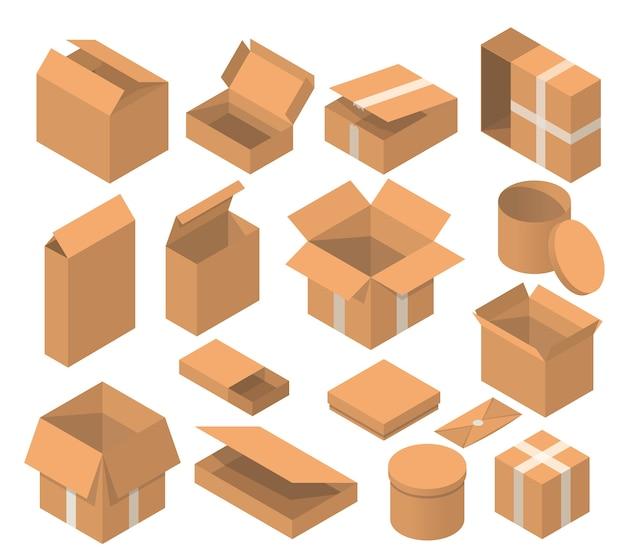 Conjunto de caixa de embalagem isométrica. coleção de caixas de papelão solated em fundo branco.