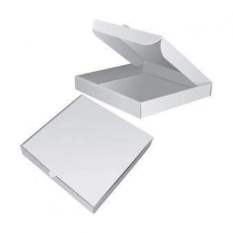 Conjunto de caixa de embalagem para pizza. ilustração realista