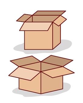 Conjunto de caixa de papelão aberta