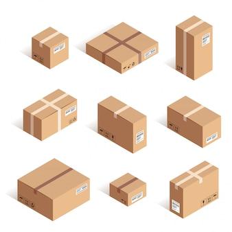 Conjunto de caixa de papelão de entrega isométrica isolado