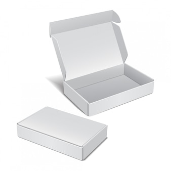 Conjunto de caixa de papelão realista branca. pacote para software, dispositivo eletrônico e outros produtos