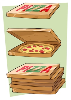 Conjunto de caixa de pizza dos desenhos animados