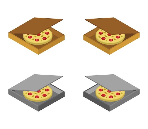 Conjunto de caixa de pizza isométrica