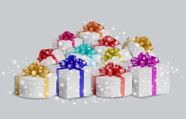 Conjunto de caixa de presente branca com brilhos de glitter. caixa de férias fechada realista em fundo branco. ilustração
