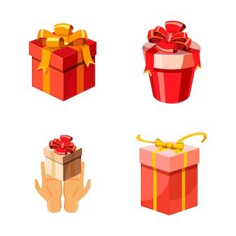 Conjunto de caixa de presente. caricatura, jogo, de, caixa presente