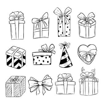 Conjunto de caixa de presente de aniversário ou natal com estilo doodle