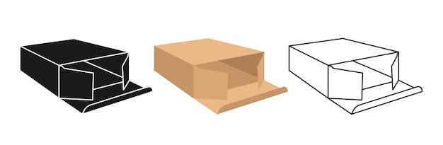 Conjunto de caixa de presente de papelão mock up cartoon