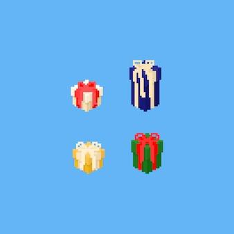 Conjunto de caixa de presente de pixel