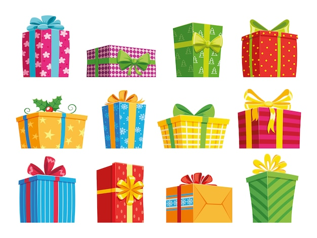 Conjunto de caixa de presente dos desenhos animados