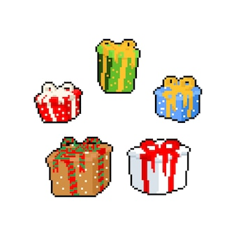 Conjunto de caixa de presente pixel art cartoon