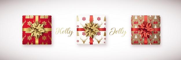 Conjunto de caixa de presentes de natal decorativa.