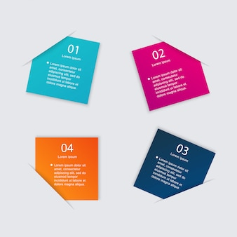 Conjunto de caixa de texto colorido com etapas, cores da moda.