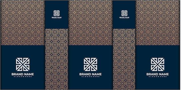 Conjunto de caixa ou modelo de ilustração de design de embalagem para presentes ou dias especiais como a páscoa, quadrado, feriados, etc., com fundos gradientes de padrão pastel. embalagem padrão