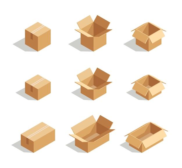 Conjunto de caixas abertas 3d isométrico