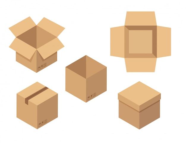 Conjunto de caixas abertas e fechadas. vista superior da caixa de papelão marrom.