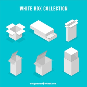 Conjunto de caixas brancas para envio em estilo plano