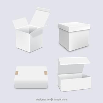 Conjunto de caixas brancas para envio em estilo realista