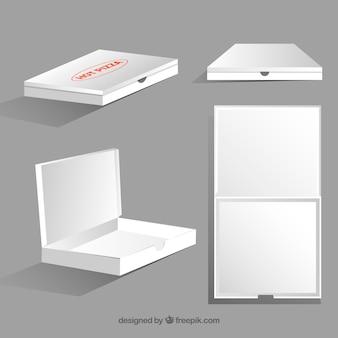 Conjunto de caixas brancas para o transporte