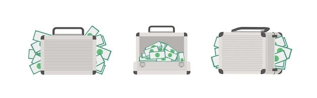 Conjunto de caixas cheias de dinheiro, isolado no fundo branco. pacote de pastas com dinheiro ou notas de dólar. riqueza e prosperidade. ilustração vetorial colorida em estilo moderno de desenho animado liso.
