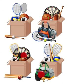 Conjunto de caixas cheias de equipamentos de esporte em branco