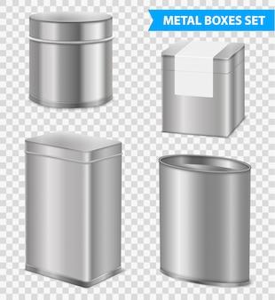 Conjunto de caixas de chá de metal realista