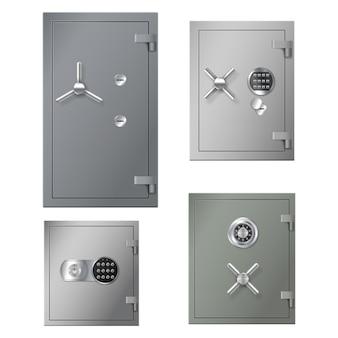 Conjunto de caixas de cofres realistas com portas de aço de metal e armários de combinação para bancos