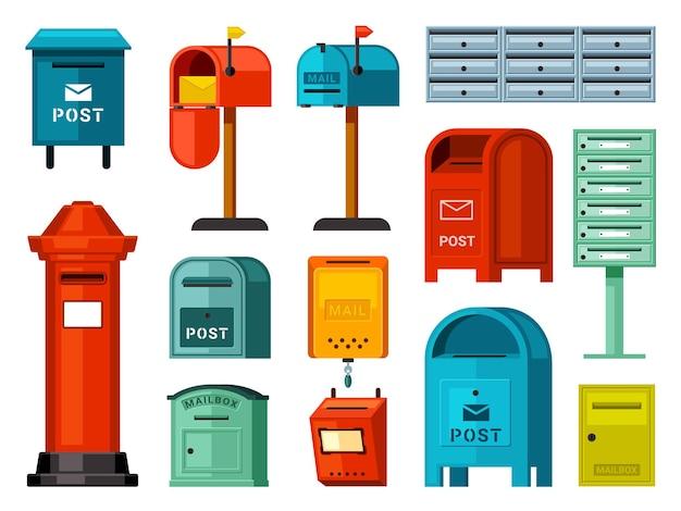 Conjunto de caixas de correio retrô e modernas