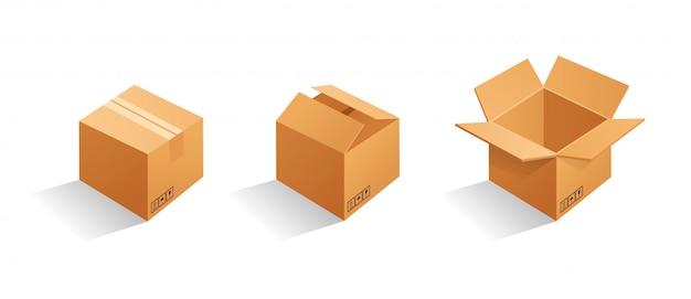Conjunto de caixas de embalagem de papelão marrom em branco. pode ser usado para medicamentos, alimentos, cosméticos e outros. ilustração realista