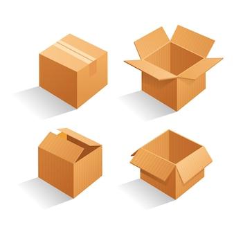 Conjunto de caixas de embalagem de papelão marrom em branco.